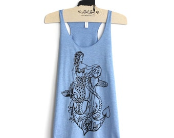SALE Small -Tri-Blend Light Blue Racerback Tank with Mermaid Anchor Screen Print
