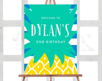 Pineapple Welcome Sign | Pineapple Birthday Welcome Sign | Any Size or Custom Colors | ANY OCCASION