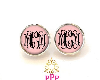 Blush Monogram Studs, Monogram Earrings, Monogram Jewelry, Personalized, Bridesmaid Gift, Custom Gift  (471)
