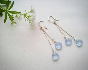 Beautiful blue chalcedony silver earrings