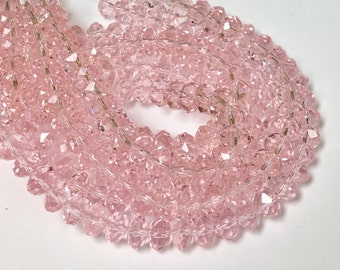 Light Pink Chinese Crystal Beads, 8X5mm, 8 inch Strand, Crystal, Beads for Jewelry Making, Rondelle Crystals