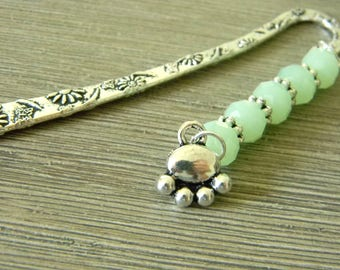 Paw Bookmark with Mint Green Glass Beads Short Shepherd Hook Bookmark Silver Color