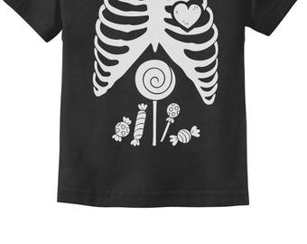 Children Skeleton Candy Rib-cage X-Ray Halloween Funny Toddler Kids T-Shirt