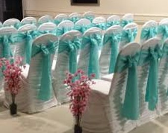 "AQUA Satin Chair Sashes 6""x106""."
