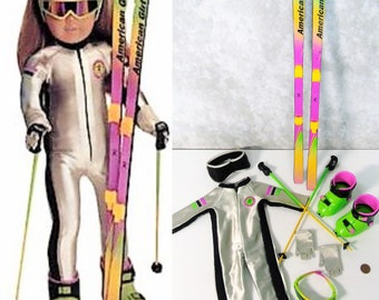 "Vintage American Girl Today Pleasant Company 18"" Doll DOWNHILL SKI RACER Outfit  by Pleasant Company Boots Skis Poles Sunglasses Gloves +"