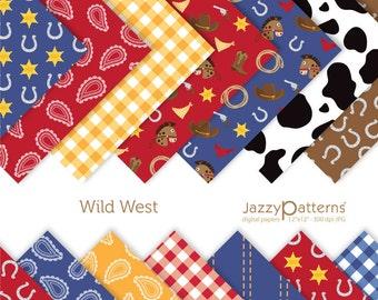 Wild West digital paper pack for scrapbooking DP080 instant download