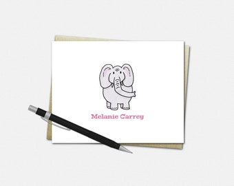 Custom Note Cards - Elephant Notecards - Set of 10 Folded Note Cards - Elephant Gifts for Her - Personalized Note Cards for Kids