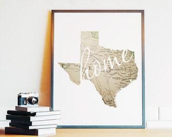 Texas, Texas Wall Art, Texas Map, Home Sign, TX State Printable, Vintage Map, Housewarming Gift, PRINTABLE Art, 8x10, Digital Download