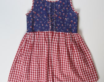 3T-4T Floral and Gingham Summer Dress