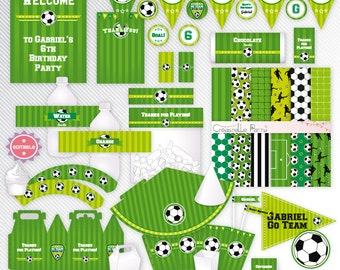 Green soccer - editable printable party decoration package - INSTANT DOWNLOAD - A4 & LETTER