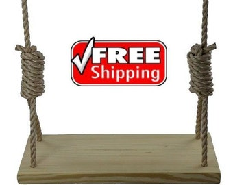 Premium Southern Pine 24 Inch 4 Hole Wood Tree Swing -  for Kids & Adults Garden Patio Outdoor Wooden Rope