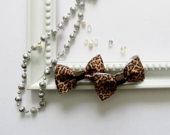 Set of 2 Animal print  brown hair bows Girls hair bow