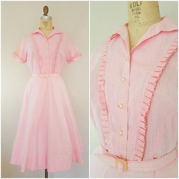 Jahrgang 1950 Kleid / 50er Jahre rosa und Weiß Gingham