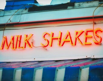Retro Neon Sign Photograph - Milk Shakes - 5 x 7 fine art print - red orange blue yellow white glow restaurant kitchen home decor