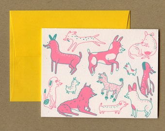 Folded Card - Dogs! - Hand Drawn Illustrated Screen Printed Blank Cards