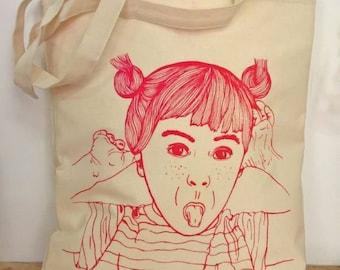 Tote bag girl face