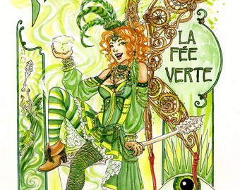 Absinthe Fairy Print [A5 size]