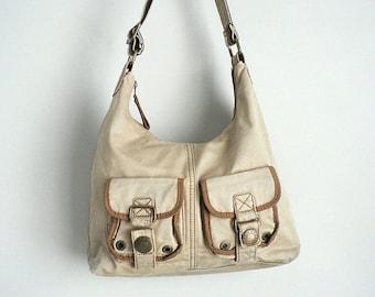 90s Rucksack Tan Cotton Shoulder Bag