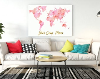 Girls Room Decor Multi Blush Pink Watercolor World Map Sheu0027s Going Places  Pink Map With Gold