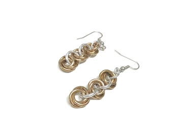 Mobius Flower Chain Earrings Chainmail Earring Champagne Gold Dangle Earrings Chainmaille Jewelry