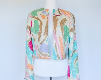 Vintage 80's Pastel Abstract Painterly Sequined Blazer