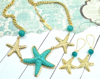 SEA STARS - Gold And Teal Necklace and Earring Set