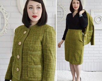 Vintage 1950s Olive Green Plaid Skirt Suit by Boykoff Size XS or Small