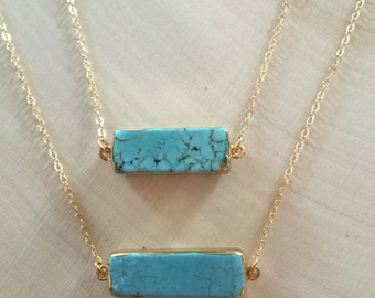Turquoise Slice Necklace / Turquoise Bar / 14kt Gold Filled Necklace / Turquoise Howlite Necklace
