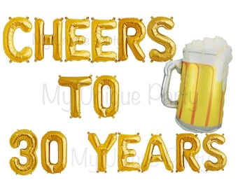 "CHEERS TO 30 YEARS Balloons Air Fill only  / 34"" Beer Mug Balloon helium / Cheers to 30 Years Banner 30th Birthday 30th Anniversary"