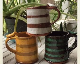 Stripy bird handle mug