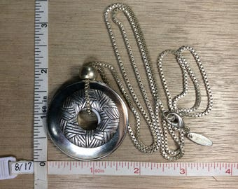 """Vintage Soho Design Silver Toned 32"""" Necklace Box Chain Two Doughnuts Used"""