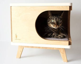 Stylish Plywood Cat House, Modern Cat Bed, Gift For Cat Lover, Cat Cabinet