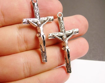 4 cross - antique silver tone cross charms pendant - 4 pcs - Jesus Cross -  ASA108