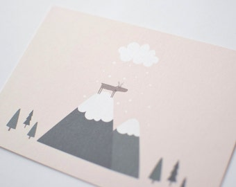 """Card mailing """"reindeer on the mountain"""""""