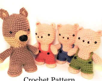 Three Pigs Crochet Pattern, Crochet Toy Pattern, Crochet Pig Pattern, Crochet Wolf Pattern, Amigurumi Pig Pattern, Crochet Doll Pattern, PDF