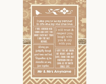 Brown Winter Romantic Vows Personalised Wedding Sign