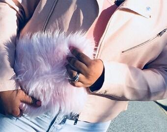 Baby Pink Fluffy Faux Fur Clutch Handbag Purse
