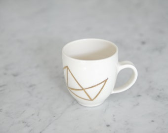 Geometric 18K Hand-painted Gold Porcelain Mug