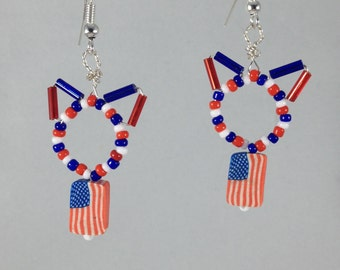 PatriotiCat Earrings, Cat Earrings in Red, White, & Blue with American Flag by The Elven Cat