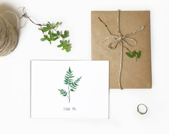Thank You Cards,Personalized Stationary - Wedding Ask Card, Personalized note cards,hank you Note, leaf painting, plant watercolor