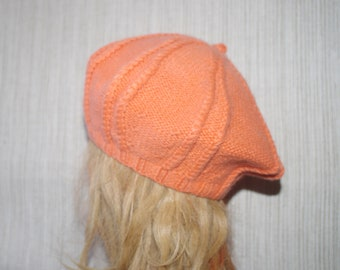 Orange Pure Cashmere Hand knit Beret Hat for Women