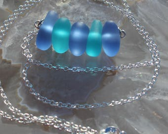 Tropical Seaglass Stack Necklace Blues & Aquas Seaglass Layering jewelry Gift Sea glass Bar Necklace by Inarajewels