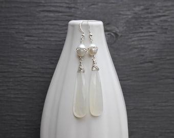 White moonstone earrings with crystal inlaid pearls, unusual moonstone
