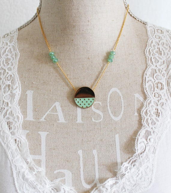 Short necklace, gold and Mint green, gold plated enamel pendant