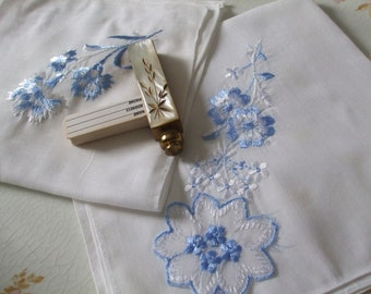 Hankies Set of Two Light Blue White Embroidered Handkerchiefs