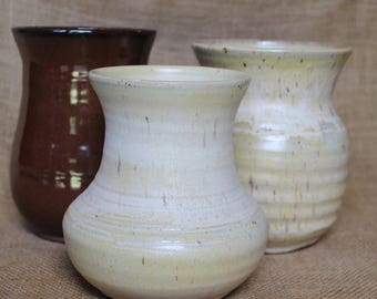 Rustic decorative flower vase, wheel thrown speckled stoneware matte vase, ready to ship