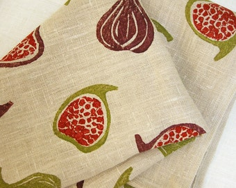 Fig Toss Autumn Decor Linen Tea Towel