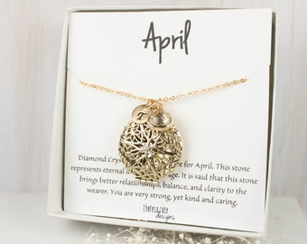 April Birthstone Locket Personalized Gold Necklace, April Personalized Necklace, Crystal Gold Necklace, April Birthday Jewelry