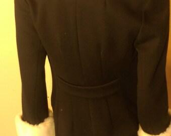 Women's coat, Black, White faux fur collar and cuff