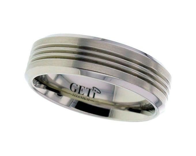 Titanium 7mm Flat Court Chamfered Edge Wedding Ring Grooved Stripes - SIZE V